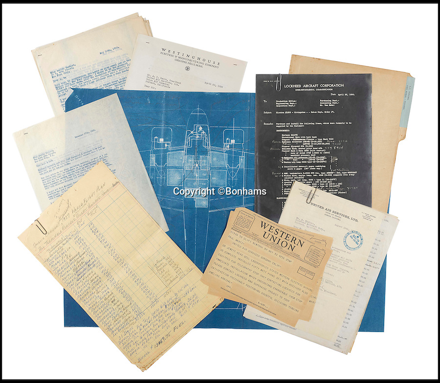 BNPS.co.uk (01202 558833)<br /> Pic: Bonhams/BNPS<br /> <br /> The blueprints of the cutting edge aeroplane that tragic aviation pioneer Amelia Earhart disappeared in during an attempt to fly around the world almost 80 years ago have emerged for sale for £14,000.<br /> <br /> Earhart's Lockheed Electra 10e aircraft was packed so full of new technology that it was dubbed the 'flying laboratory' on its launch in 1936.<br /> <br /> Plans and invoices for the work Lockheed carried out to modify the plane for the round the world flight show Earhart had four auxiliary fuel tanks fitted in the passenger compartment and a navigator's station to the rear of that.<br /> <br /> The auction will take place at Bonhams in New York on June 8.