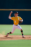 Brock Daniels (2) of St. John Vianney High School in St Louis, MO during the Perfect Game National Showcase at Hoover Metropolitan Stadium on June 17, 2020 in Hoover, Alabama. (Mike Janes/Four Seam Images)