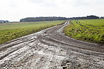 Unsurfaced track road chalk upland landscape Figheldean Down, Salisbury Plain, Wiltshire, England, UK