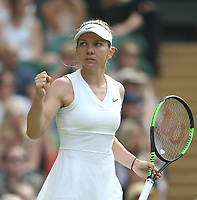 Simona Halep (ROU) during her match against Victoria Azarenka (BLR) in their Ladies' Singles Third Round match<br /> <br /> Photographer Rob Newell/CameraSport<br /> <br /> Wimbledon Lawn Tennis Championships - Day 5 - Friday 5th July 2019 -  All England Lawn Tennis and Croquet Club - Wimbledon - London - England<br /> <br /> World Copyright © 2019 CameraSport. All rights reserved. 43 Linden Ave. Countesthorpe. Leicester. England. LE8 5PG - Tel: +44 (0) 116 277 4147 - admin@camerasport.com - www.camerasport.com