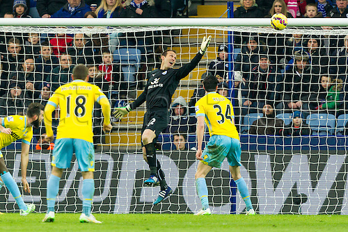 07.02.2015.  Leicester, England. Barclays Premier League. Leicester City versus Crystal Palace. The ball loops over Leicester City keeper Mark Schwartzer for Crystal Palace's opening goal (0-1).