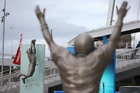 "SANTA CLARA, CA - FEBRUARY 2:  The Joe Montana statue stands close by the Dwight Clark ""The Catch"" statue in front of Levi's Stadium, home of the San Francisco 49ers, on Saturday, February 2, 2019 in Santa Clara, California. (Photo by Brad Mangin)"