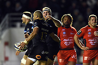 Kahn Fotuali'i of Bath Rugby celebrates his try with team-mate Henry ThomasEuropean Rugby Champions Cup match, between RC Toulon and Bath Rugby on December 9, 2017 at the Stade Mayol in Toulon, France. Photo by: Patrick Khachfe / Onside Images