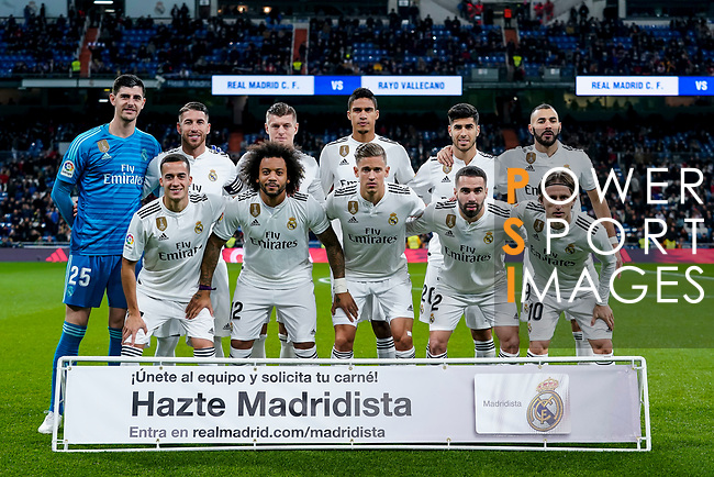 Players of Real Madrid line up and pose for a photo prior to the La Liga 2018-19 match between Real Madrid and Rayo Vallencano at Estadio Santiago Bernabeu on December 15 2018 in Madrid, Spain. Photo by Diego Souto / Power Sport Images