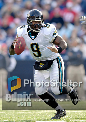 26 November 2006: Jacksonville Jaguars quarterback David Garrard (9) scrambles out of the pocket against the Buffalo Bills at Ralph Wilson Stadium in Orchard Park, NY. The Bills defeated the Jaguars 27-24. Mandatory Photo Credit: Ed Wolfstein Photo<br />