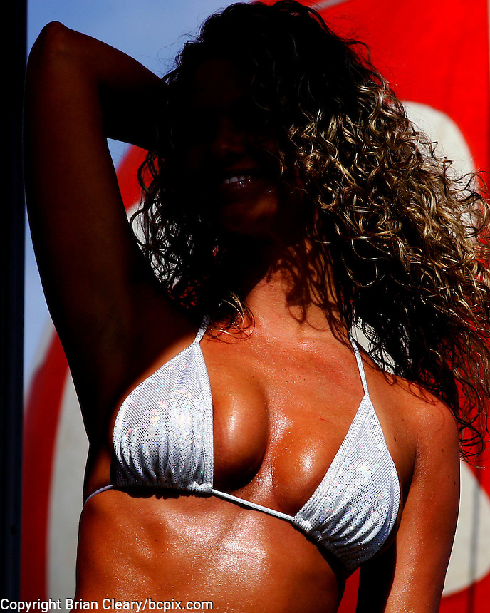 A contestant in a Hooters sponsored Bikini Contaest on satge in Daytona Beach, FL, October 17, 2009.  (Photo by Brian Cleary/www.bcpix.com)
