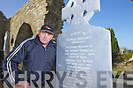 Leo Finucane from Moyvane in Lislaughtin Abbey, Ballylonford with a recently restored headstone that had been presumed lost, pictured here last Tuesday morning.