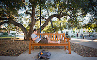 Occidental College student Will Nahmens '17 studies for finals on Dec. 11, 2013 under an oak tree in the Academic Quad. (Photo by Marc Campos, Occidental College Photographer)