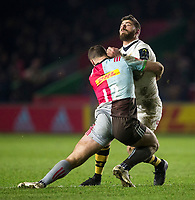 Wasps' Willie Le Roux is hit hard by Harlequins' Jamie Roberts<br /> <br /> Photographer Bob Bradford/CameraSport<br /> <br /> European Rugby Challenge Cup - Harlequins v Wasps - Sunday 13th January 2018 - Twickenham Stoop - London<br /> <br /> World Copyright &copy; 2018 CameraSport. All rights reserved. 43 Linden Ave. Countesthorpe. Leicester. England. LE8 5PG - Tel: +44 (0) 116 277 4147 - admin@camerasport.com - www.camerasport.com