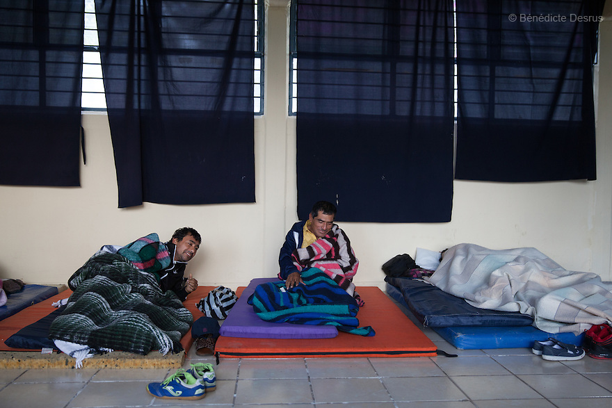 """Juan Colon, father of Cristian Tomás Colón Garnica, one of the 43 missing students from Ayotzinapa's teacher training college, wakes-up at the teacher-trainingcollege """"Vasco de Quiroga"""" in Tiripetio, Michoacan, Mexico on November 19, 2014. Parents and relatives of the 43 missing students from Ayotzinapa's teacher training college, still do not believe the official line that the young men are all dead, and with classmates, social organizations and human rights defenders, they started on Thursday a national caravan. They split up into three different caravans, branching out to share information face to face with supporters in other cities and rally nationwide support. The three groups will meet in Mexico City on Thursday 20 for a general strike and massive marches to demand justice and fight against corrupted government and organized crime. Criticism of the government has intensified in Mexico, and many are demanding that the search for the 43 missing students continue until there is concrete evidence to the contrary. (Photo by BénédicteDesrus)"""