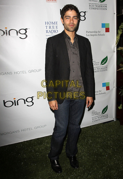 ADRIAN GRENIER .40th Annivesary of Earth Day held At The JW Marriott LA Live, Los Angeles, California, USA, 22nd April 2010..full length grey gray shirt black blazer jacket shoes jeans .CAP/ADM/KB.©Kevan Brooks/AdMedia/Capital Pictures.
