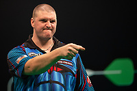 27th October 2019, Gottingen, Lower Saxony, Germany:  PDC European Championships; Semi-final rounds. Daryl Gurney from Northern Ireland gestures in the game against Cross.