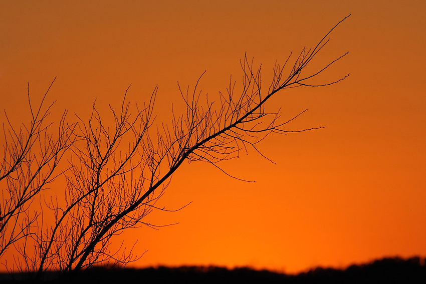 That special moment just after the sun dips below the horizon, and the skies color shifts to orange for a brief time..