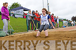 Clodagh Clifford Firies makes the perfect landing during the u16 triple jump during the Kerry Community Games finals on Sunday
