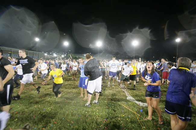 The University of Kentucky sets a new world record for largest balloon fight Friday night with over 5,000 people in attendance at the Johnson Center field. Photo by Scott Hannigan   Staff