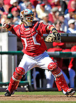 16 September 2007: Washington Nationals catcher Jesus Flores in action against the Atlanta Braves at Robert F. Kennedy Memorial Stadium in Washington, DC. The Braves shut out the Nationals 3-0 in the third game of their 3-game series...Mandatory Photo Credit: Ed Wolfstein Photo
