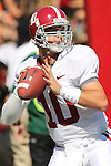 Alabama Crimson Tide quarterback A.J. McCarron (10) during pre game.  South Carolina leads 21 over Alabama 9 at  the half.