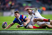 10th February 2019, Twickenham Stadium, London, England; Guinness Six Nations Rugby, England versus France; Antoine Dupont of France and Jonny May of England go for the loose ball