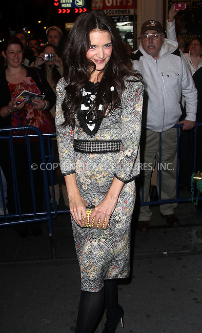 WWW.ACEPIXS.COM....November 29 2012, New York City....Actress Katie Holmes leaves the Music Box Theatre after the opening night of 'Dead Accounts' on November 29 2012 in New York City........By Line: Zelig Shaul/ACE Pictures......ACE Pictures, Inc...tel: 646 769 0430..Email: info@acepixs.com..www.acepixs.com