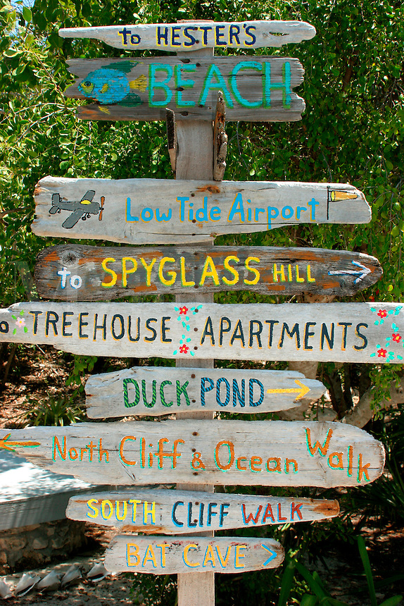 Signs pointing the way on Compass Cay, Exuma Islands, Bahamas