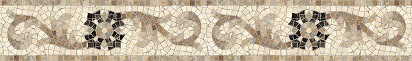 "6"" Gentian border, a hand-cut stone mosaic, shown in tumbled Emperador Dark, Travertine White, and Travertine Noce."