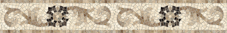 "6"" Gentian border, a hand-cut mosaic shown in tumbled Emperador Dark, Travertine White, and Travertine Noce by New Ravenna."
