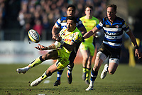 Denny Solomona of Sale Sharks passes the ball. Aviva Premiership match, between Bath Rugby and Sale Sharks on February 24, 2018 at the Recreation Ground in Bath, England. Photo by: Patrick Khachfe / Onside Images