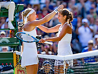 London, England, 10 th. July, 2018, Tennis,  Wimbledon, Womans single quarter final: Kiki Bertens (NED) congratulates Julia Goerges (GER) with her win.<br /> Photo: Henk Koster/tennisimages.com