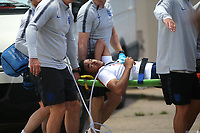 Reece James of Chelsea and England is carried off on a stretcher during Chile Under-21 vs England Under-20, Tournoi Maurice Revello Football at Stade Parsemain on 7th June 2019