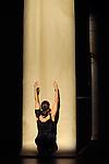 KRAFT....Choregraphie : Virginie Garcia..Compositeur : Fernando Garnero (Argentine-France)..Percussions : Hélène Colombotti (France)..Après une marche entêtante au son de la percussion, Virginie Garcia danse sur une étroite bande de papier kraft qui tombe sur scène à la verticale. Elle en joue, s'y abandonne ou la scrute, pour finir avalée dans un grand bruit de papier froissé ..Avec :..Virginie Garcia..Cadre : Des solis et des lieux..Lieu : Fondation Royaumont..Ville : Asniere sur Oise..Le : 07 09 2011..© Laurent PAILLIER / photosdedanse.com..All rights reserved