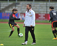 20131013 - BAMBERG , GERMANY :  Belgian Assistant Luc Bosmans pictured during the female soccer match between Switzerland Women U17 and Belgium U17 , in the second game of the Elite round in group 6 in the UEFA European Women's Under 17 competition 2013 in the Fuchs Park Stadion - Bamberg  Sunday 13 October 2013. PHOTO DAVID CATRY