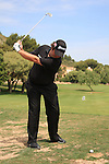 Shane Lowry had a narrow escape after one of his fellow players said he was on the driving range practising in an out of bounds area with is DQ. Lowry had to call for a Tour official for a ruleing before the start of his second round on day two of the Iberdrola Open from Pula Golf Club ,Son Servera, Mallorca, Spain 13/5/11.Picture Fran Caffrey/www.golffile.ie.In the picture there is a faint line from the white marker on the left that travels to the bottom right of the picture.