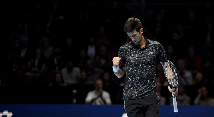 Novak Djokovic in action against Alexander Zverev<br /> Photographer Hannah Fountain/CameraSport<br /> <br /> International Tennis - Nitto ATP World Tour Finals Day 4 - O2 Arena - London - Wednesday 14th November 2018<br /> <br /> World Copyright © 2018 CameraSport. All rights reserved. 43 Linden Ave. Countesthorpe. Leicester. England. LE8 5PG - Tel: +44 (0) 116 277 4147 - admin@camerasport.com - www.camerasport.com