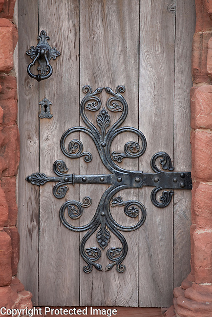 Door of St Magnus Cathedral Church, Kirkwall, Orkney Islands, Scotland