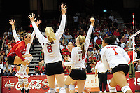 Wisconsin celebrates a point, as the Badgers go up against Duke on Friday at the University of Wisconsin Field House in Madison