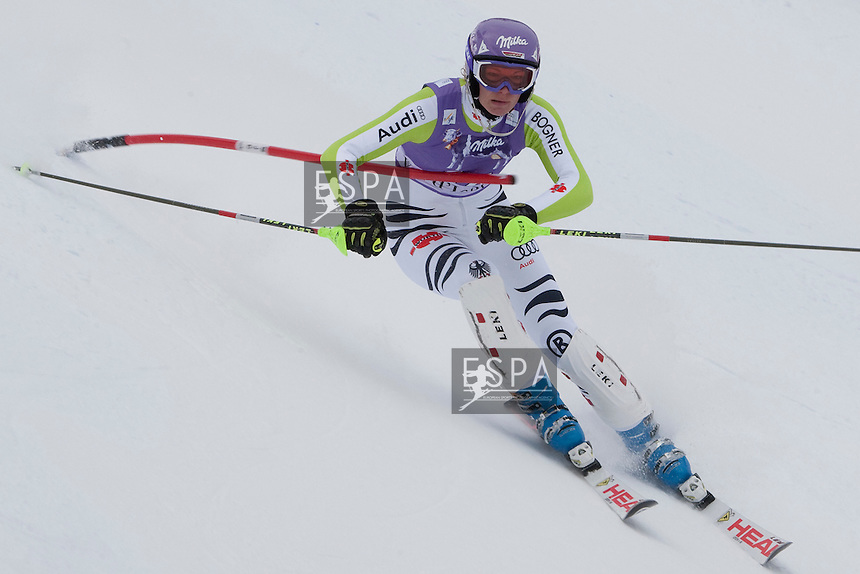 VAL D'ISERE FRANCE. 19-12-2010. Maria Riesch (GER) gets hit across the chest with a control gate whilst competing in the Slalom section of the women's Super Combined race at the FIS Alpine skiing World Cup Val D'Isere France. Mandatory credit: Mitchell Gunn