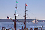 Tall ships, Lady Washington, brig, replica sailing ship. Port Townsend, Wooden Boat Festival, sunrise, Salish Sea, Washington State, Pacific Northwest, United States,