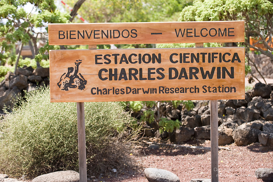 Charles Darwin Research Station, Puerto Ayora, Santa Cruz Island, Galapagos, Ecuador; the welcome sign for the Charles Darwin Research Station , Copyright © Matthew Meier, matthewmeierphoto.com All Rights Reserved