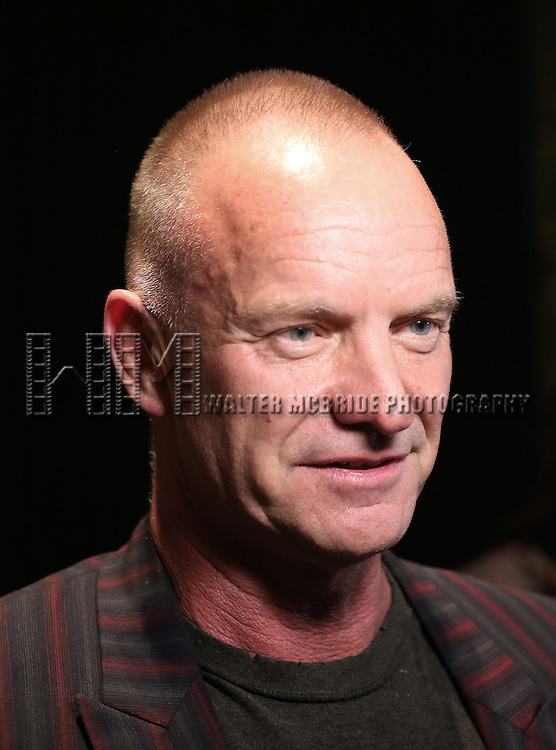 Sting backstage at 'Uprising Of Love: A Benefit Concert For Global Equality' at the Gershwin Theatre on September 15, 2014 in New York City.