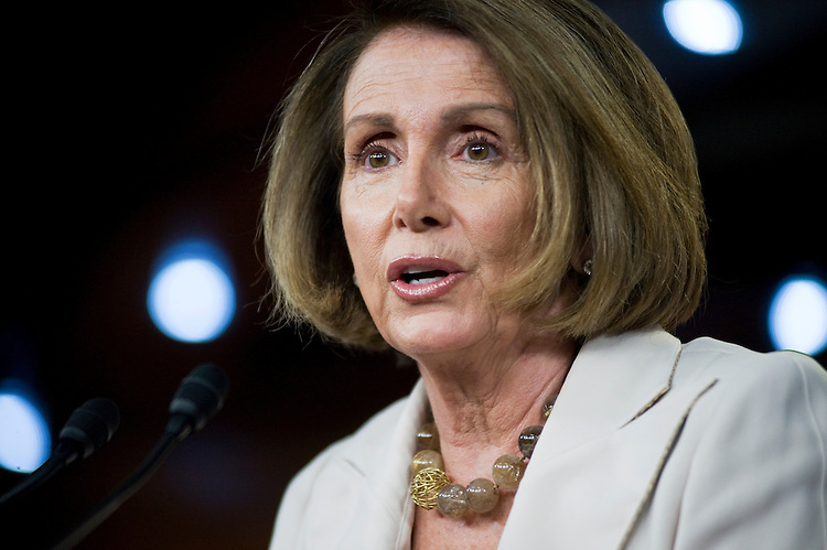 UNITED STATES - JULY 14: House Minority Leader Nancy Pelosi, D-Md., conducts her weekly news conference in the Capitol Visitor Center.  (Photo By Tom Williams/Roll Call)