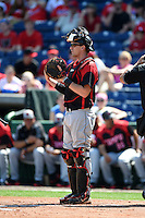 Tampa Spartans catcher Nick Tindall (42) during an exhibition game against the Philadelphia Phillies on March 1, 2015 at Bright House Field in Clearwater, Florida.  Tampa defeated Philadelphia 6-2.  (Mike Janes/Four Seam Images)