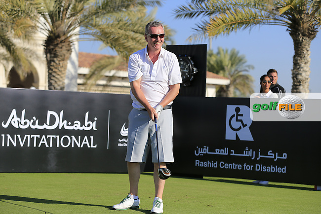 Aidan Heavey tees off the 10th tee to start his match during the 2015 Abu Dhabi Invitational Am-Am event held at Yas Links Golf Course, Abu Dhabi.: Picture Eoin Clarke, www.golffile.ie: 1/26/2015