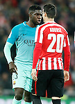 Athletic de Bilbao's Aritz Aduriz (r) and FC Barcelona's Samuel Umtiti have words during Spanish Kings Cup match. January 05,2017. (ALTERPHOTOS/Acero)