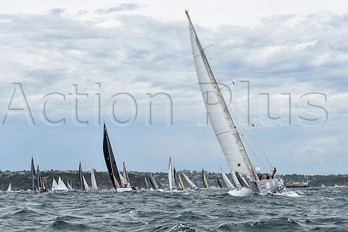 26.12.2015 Sydney, Australia. Rolex Sydney to Hobart Yacht race 2015. The rest of the fleet heads out to sea during the start of the 629 nautical mile race from Sydney to Hobart on Sydney Harbour.