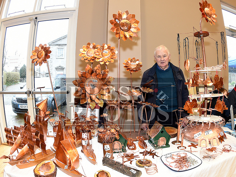 Tom Cassidy (Tom Cassidy Copper Creations) at the Cottage Market 3rd birthday in St. Peter's Parish Hall. Photo:Colin Bell/pressphotos.ie