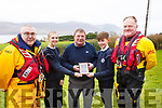 The RNLI visit Spa National School on Friday last for a special presentation and workshops to highlight the work they do and to mark the Royal visit to Fenit last year. L-r, Kevin Honeyman (RNLI), Rosie Falvey, Mike O'Connor (RNLI), Cian O'Gara and Guy Waugh (RNLI).