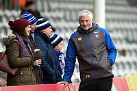 Bath Director of Rugby Todd Blackadder speaks with supporters during the pre-match warm-up. Aviva Premiership match, between Harlequins and Bath Rugby on March 2, 2018 at the Twickenham Stoop in London, England. Photo by: Patrick Khachfe / Onside Images