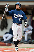 03 october 2009: Yann Dal Zotto of Savigny reacts after being called on strikes during game 1 of the 2009 French Elite Finals won 6-5 by Rouen over Savigny in the 11th inning, at Stade Pierre Rolland stadium in Rouen, France.