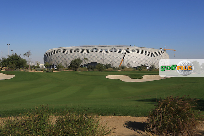 A view of the new Education City Stadium built for the 2022 World Cup from the 1st during the Pro-Am of the Commercial Bank Qatar Masters 2020 at the Education City Golf Club, Doha, Qatar . 04/03/2020<br /> Picture: Golffile | Thos Caffrey<br /> <br /> <br /> All photo usage must carry mandatory copyright credit (© Golffile | Thos Caffrey)