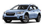 Stock pictures of low aggressive front three quarter view of a 2018 Subaru XV Premium 5 Door SUV